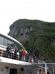 Troll gazing down at cruise ship